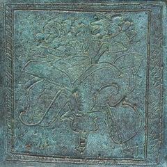 "Flower Vase, Still Life, Bronze Plate, Green by Artist of 21st Century""In Stock"""