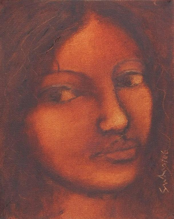 Radha : Cascading hair and cast long wistful looks in oil on canvas by Suhas Roy