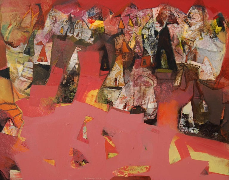 """Tapas Ghosal Interior Painting - Abstract, Acrylic on Canvas, Pink, Red, Brown by Contemporary Artist """"In Stock"""""""