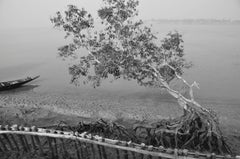 "Rural Scenery, Boat, River, Black & White Photography by Indian Artist""In Stock"""
