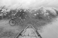 "Rural Scenery, Kans Grass, Boat, Bicycle, Black & White Photography ""In Stock"""