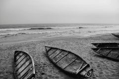 "Boats, Sea Beach, Black & White Photography by Indian Artist ""In Stock"""