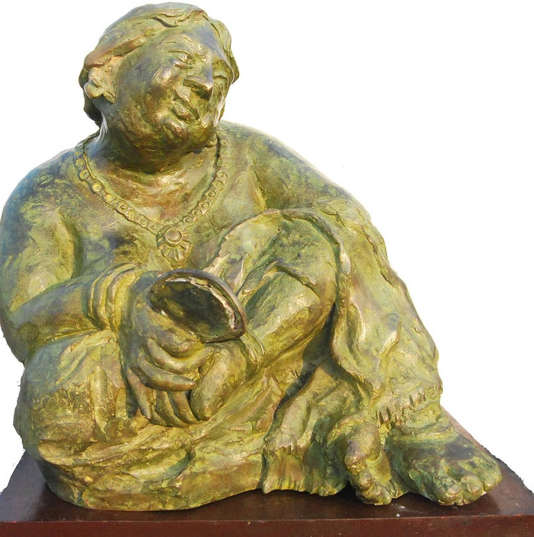 Education: • 1985 – 1989 Diploma in Fine Arts from Indian College of Arts and Draftsmanship, Calcutta(R.B.U.)   Debabrata De's bronzes, rustic and earthly in its essence; his women Lakshmi Chachi, smoking a hookah and Bidhur Sundori( meaning very
