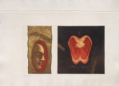"Face with Apple , Etching on Paper, Brown , Red and Yellow Color, "" In Stock"""