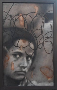 "Not in the Picture, Woman, Silent Eyes, Black, Brown by Indian Artist ""In Stock"""