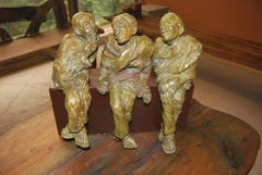 Adda,  Sculpture from Bengal depicts Men In Bronze By Indian Artist Debabrata De