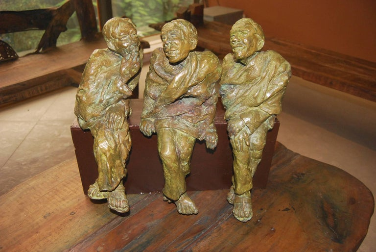 Adda,  Sculpture from Bengal depicts Men In Bronze By Indian Artist Debabrata De - Gold Figurative Sculpture by Debabrata De