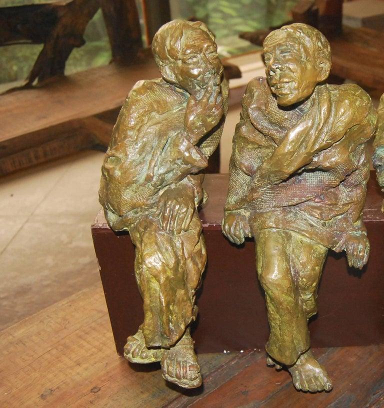 Adda,  Sculpture from Bengal depicts Men In Bronze By Indian Artist Debabrata De For Sale 1