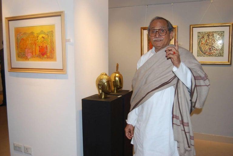 K.S. Radhakrishnan - Krishna - HT : 13 x W : 10 x CIR : 20 inches Bronze Sculpture.  Krishna : Figurative sculpture of Hindu God by great Modern Indian Artist K.S. Radhakrishnan who has successfully brought about a defenitive resurgence in Indian