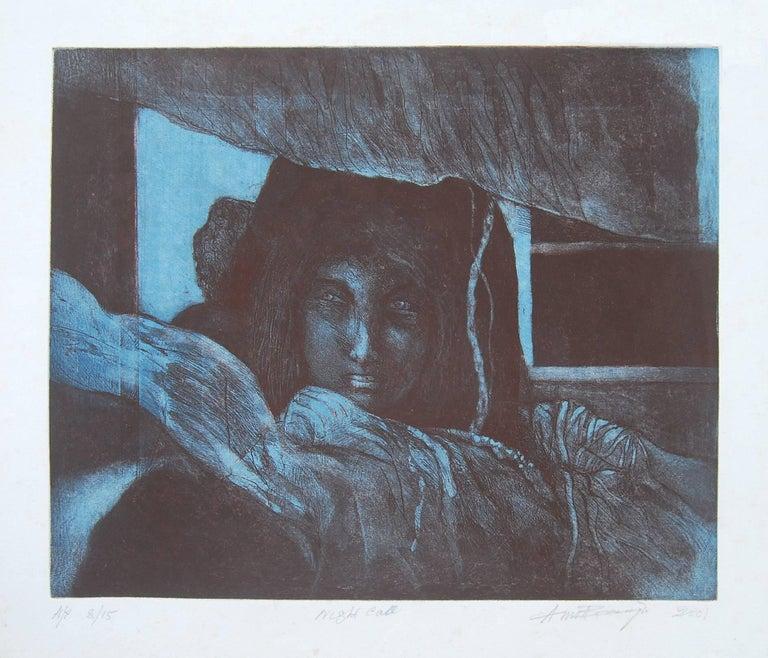Amitabha Banerjee Figurative Print - Night Call : Gorgeous work by Amitaha Banerjee in Etching on paper