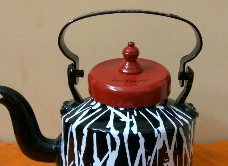 Striking Indian aluminum kettle, in black, red, white; india art Shuvaprasanna  - Brown Still-Life Sculpture by Shuvaprasanna Bhattacharya
