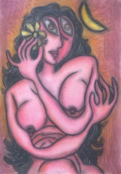 "Painting in Pastel of Sensous Nude Woman with a Flower , Indian Art ""In Stock"""