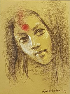 "Painting of Woman as Devi-Goddess, Third Eye, Bengal By Indian Art ""In Stock"""