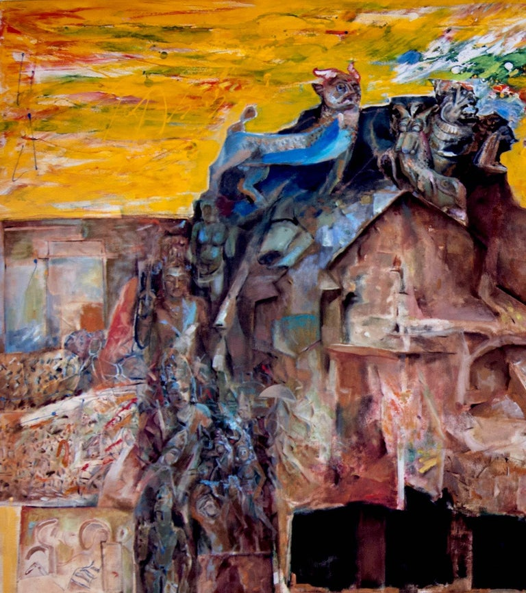 Changing Rock I,Mythscape Series,Indian Heritage, Oil on canvas by Modern Artist - Painting by Amitabh Sengupta