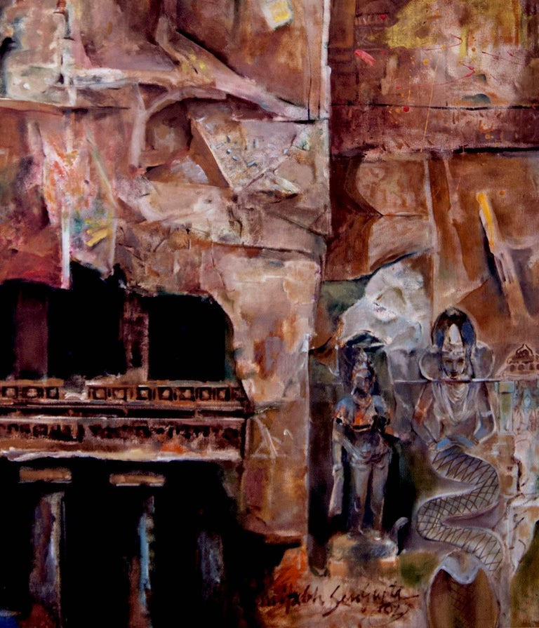 Changing Rock I,Mythscape Series,Indian Heritage, Oil on canvas by Modern Artist For Sale 1