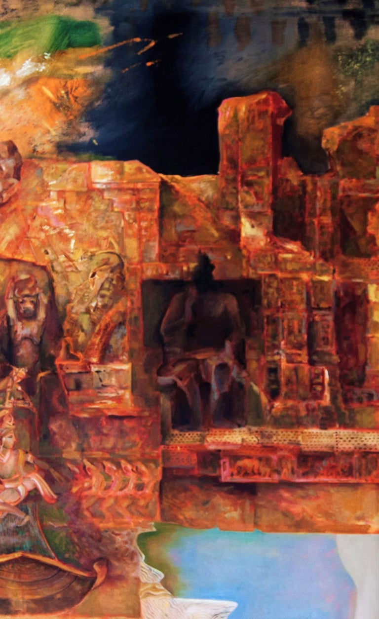 Changing Rock II, Abstract work of Mythscape Series, Mythology by Indian Artist - Painting by Amitabh Sengupta