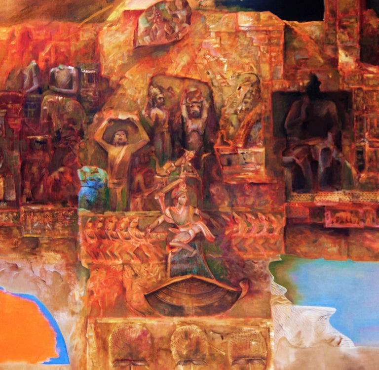 Changing Rock II, Abstract work of Mythscape Series, Mythology by Indian Artist - Modern Painting by Amitabh Sengupta
