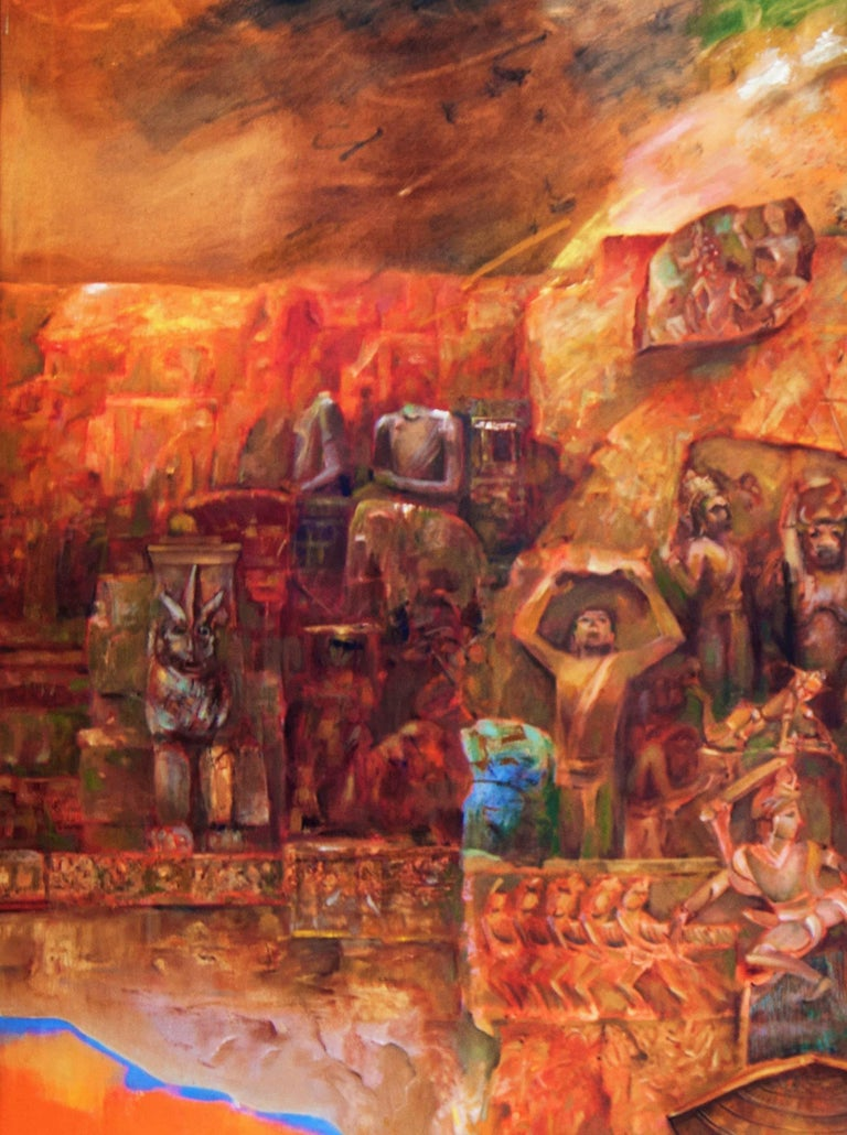 Changing Rock II, Abstract work of Mythscape Series, Mythology by Indian Artist - Brown Abstract Painting by Amitabh Sengupta