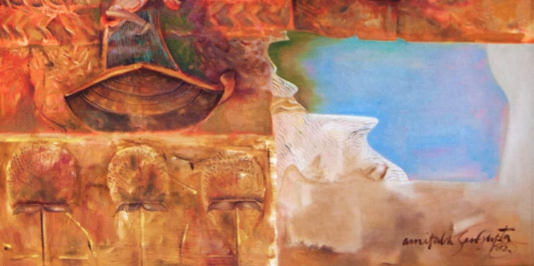 Amitabh Sengupta - Changing Rock II - 60 x 60 inches (unframed size) Oil on canvas  ** This work will be shipped in roll form to save on shipping cost.  Mythscape Series : This series emerged in late nineties when the Artist returned to India after