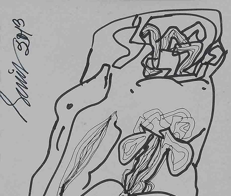 Making Love Series III, Nude, Pen & Ink Paper by Modern Indian Artist