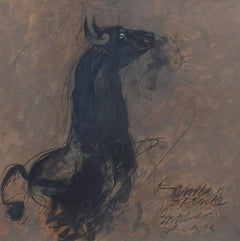 Bull, Black Brown,Charcoal Oil on Board by Indian Master 'In Stock'