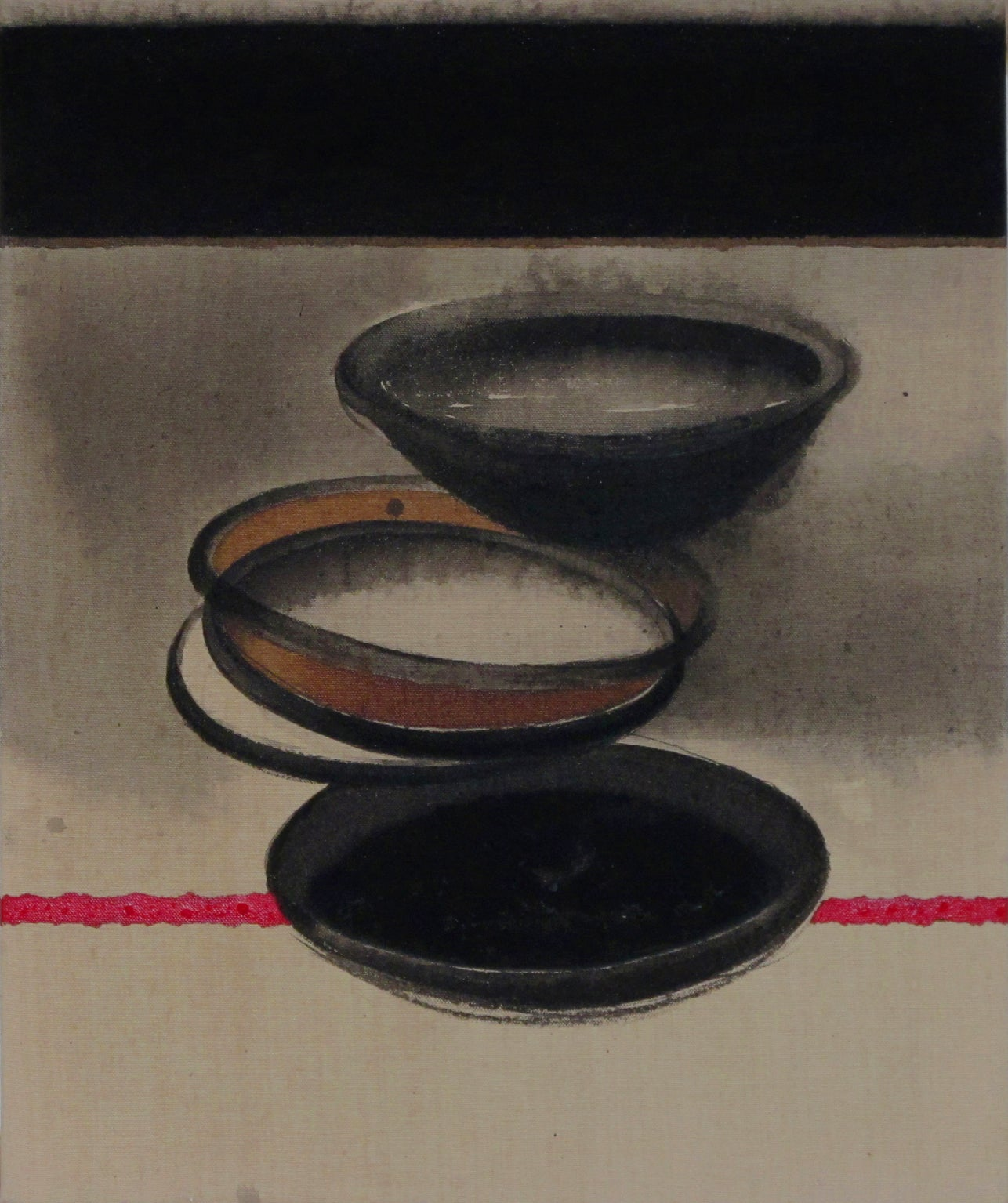 """Pots, Acrylic & Pigment on Canvas, Black, Red, Grey, Brown Colour """"In Stock"""""""