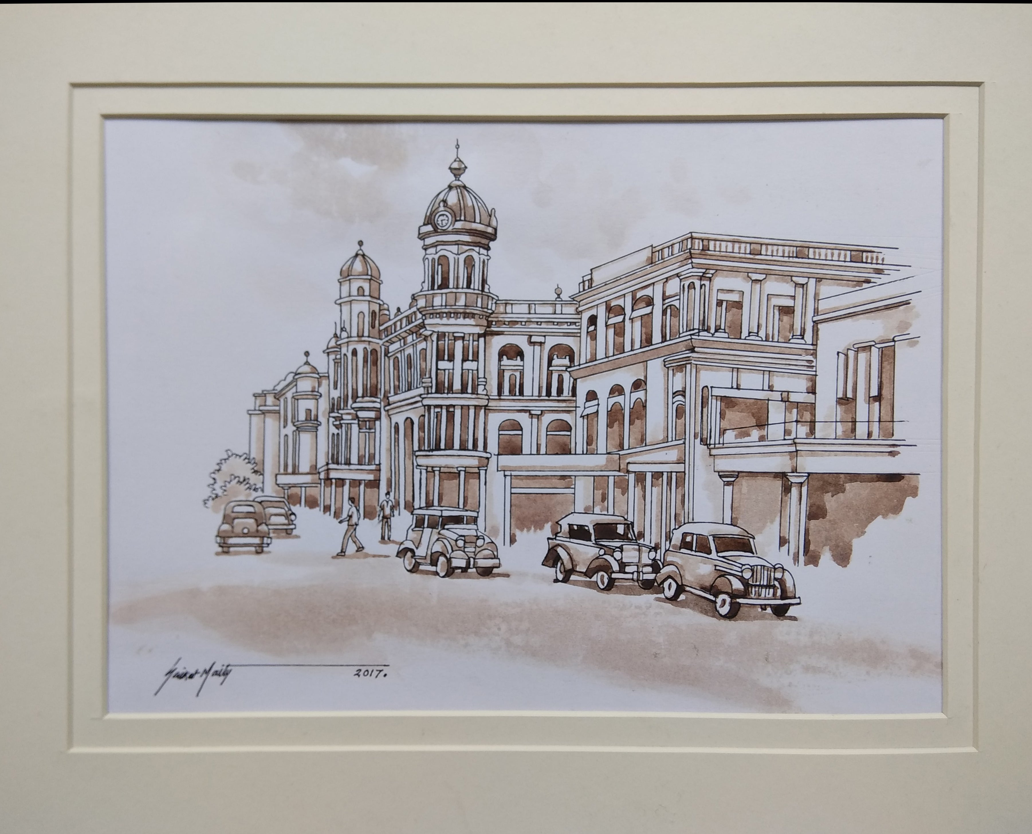 Old kolkata painting heritage building watercolour by indian artist in stock