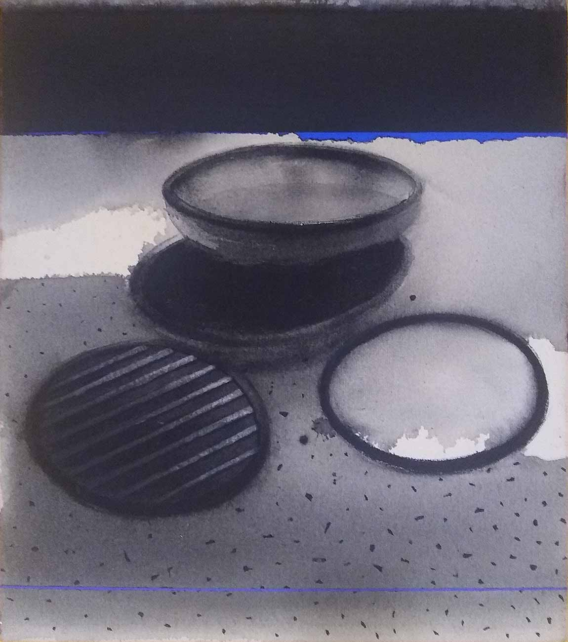 """Pots, Acrylic & Pigment on Canvas, Black, Blue, Grey Colour """"In Stock"""""""