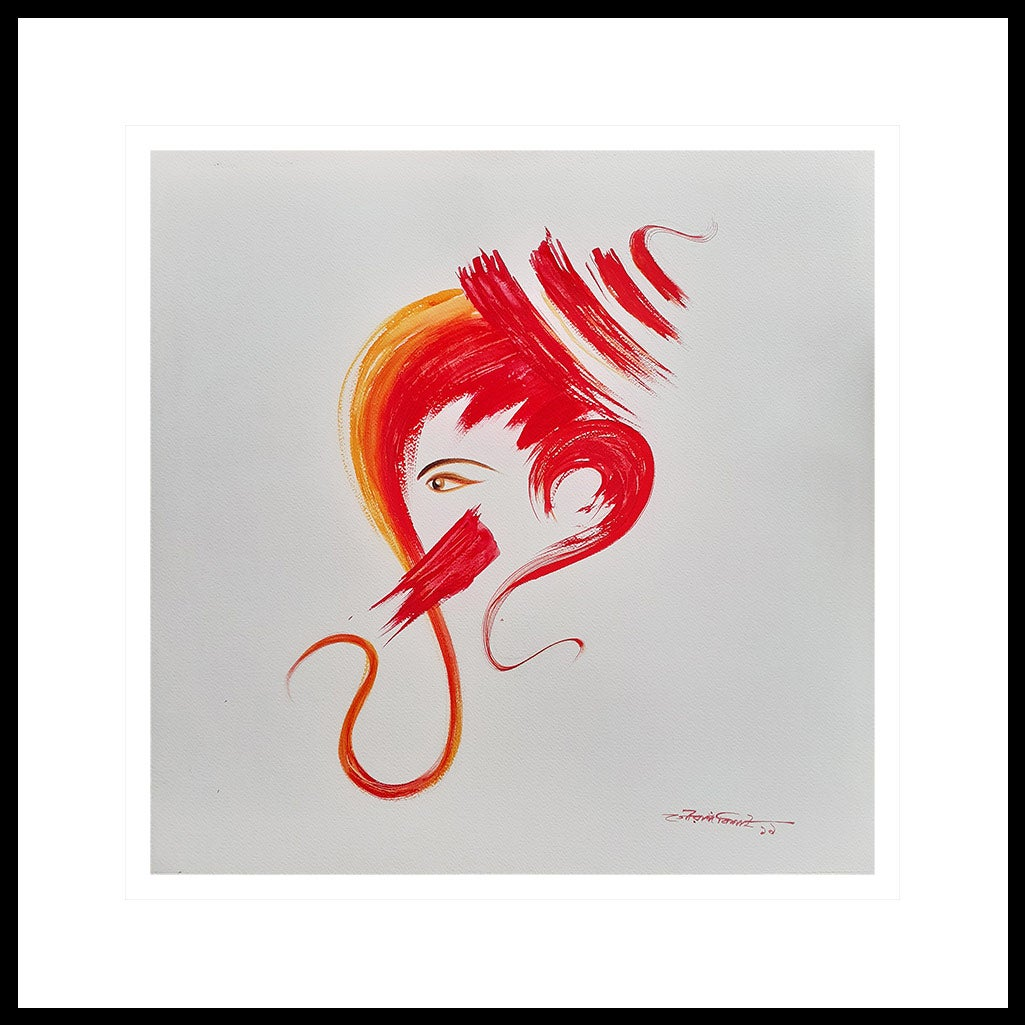 """Ganesh, God, Fortune, Watercolor on paper, Red, Yellow, Bengal Artist """"In Stock"""""""