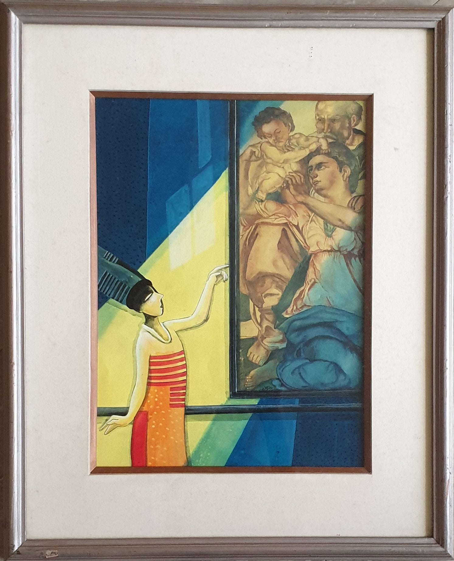 """Woman Seeing a Renassiance Painting, Yellow, Blue, Brown ,""""In Stock"""""""