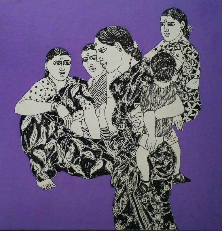 "Indian Village Women & Children,Ink On Canvas, Purple, White & Black  ""In Stock"""