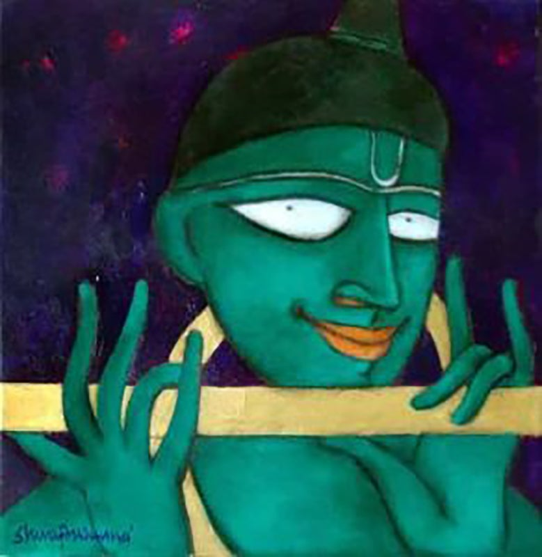 """The Golden Flute, Oil, Acrylic, Charcoal, Green, Yellow, Modern Artist""""In Stock"""""""