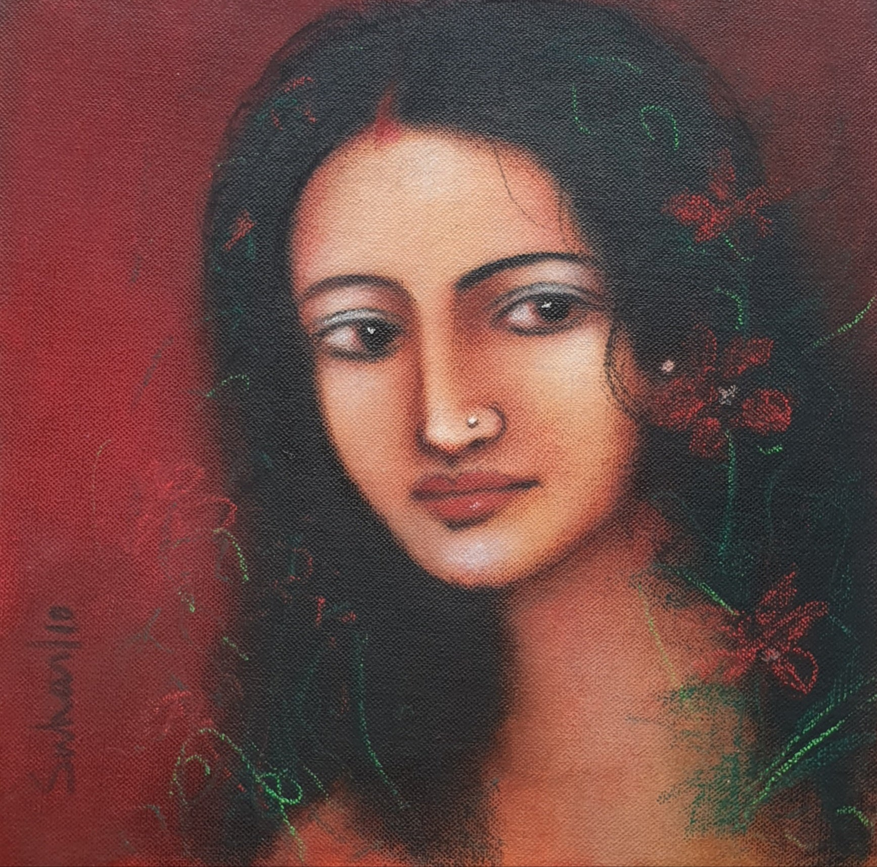 """Radha, Mystic, Oil on canvas, Red, Green, Brown by Modern Artist """"In Stock"""""""
