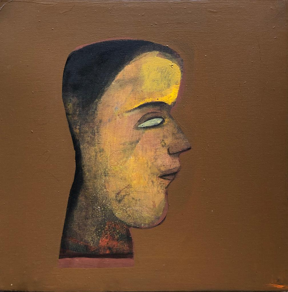 """Face, Men, Acrylic on Canvas, Brown, Yellow by Contemporary Artist """"In Stock"""""""