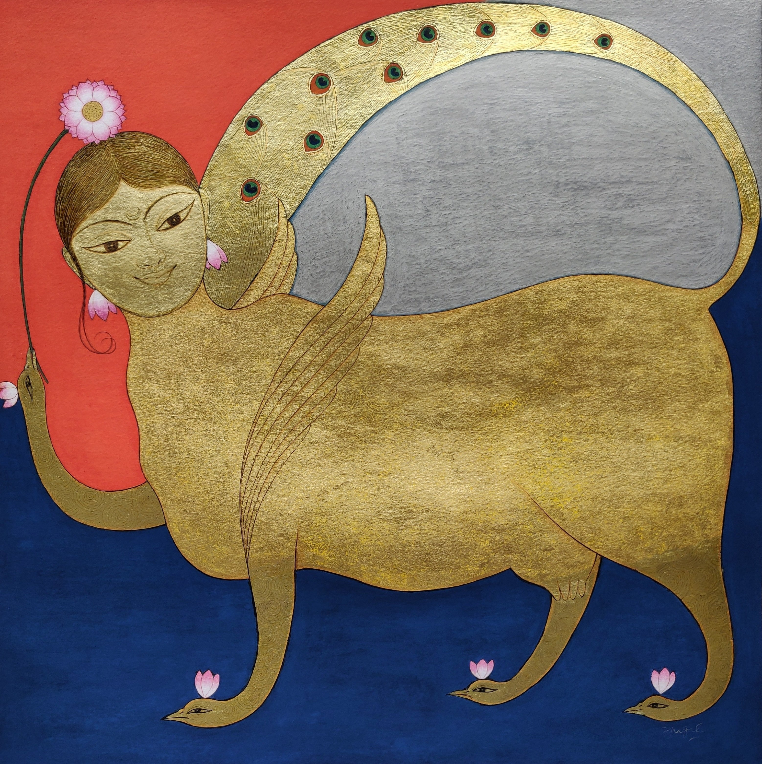 """Kamdhenu, Gouache & Gold Leaf on Paper, Golden by Contemporary Artist """"In Stock"""""""
