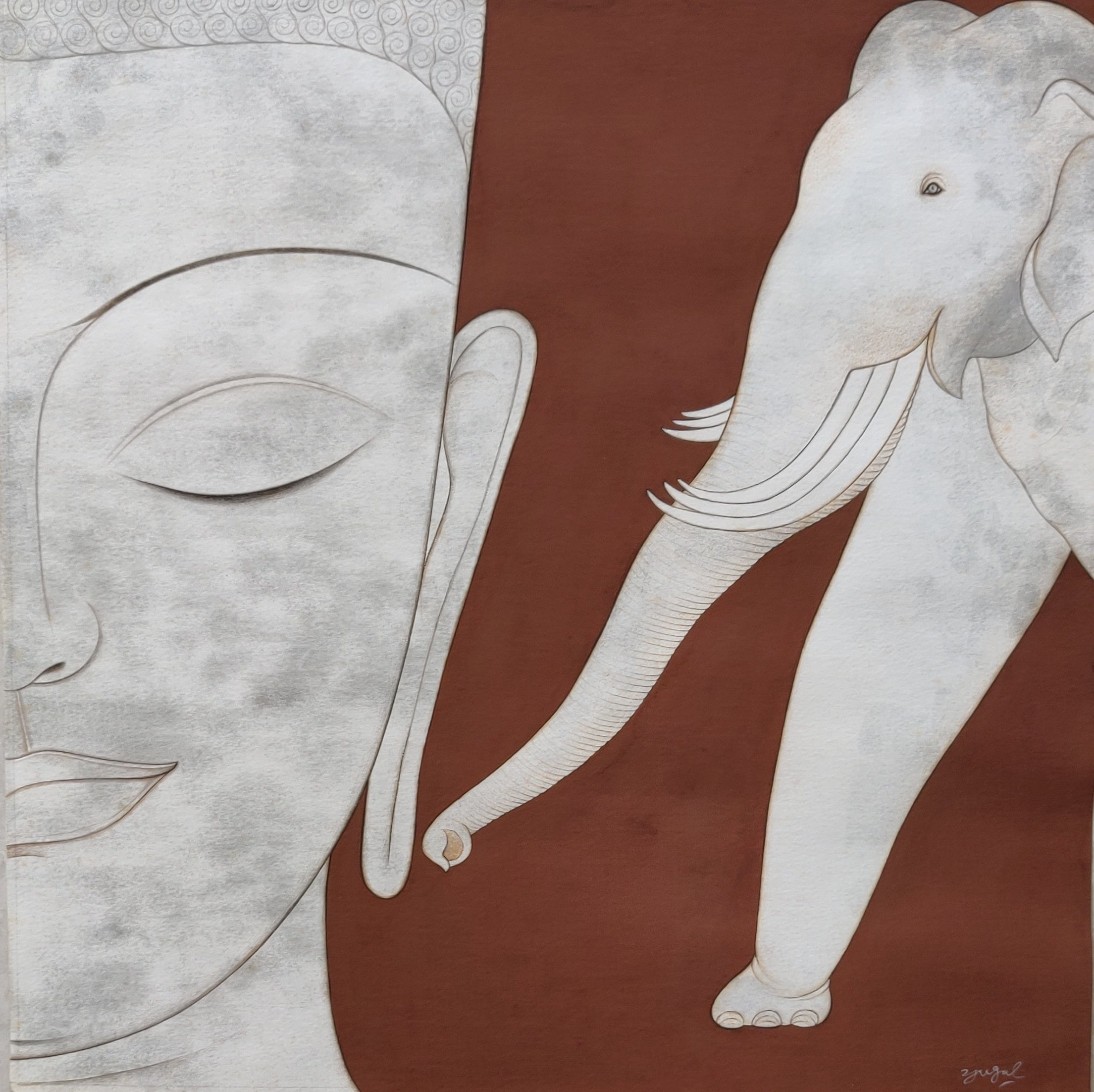"""Buddha in Jaatak, Gouache, Silver & Ink on Paper, Contemporary Artist """"In Stock"""""""