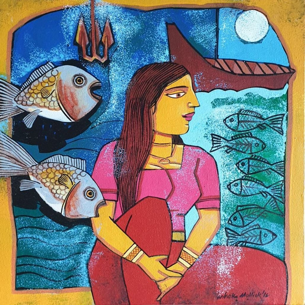 "Woman with Fishes, Blue , Mustard , Red & Pink Color, Acrylic-Canvas ""In Stock"""