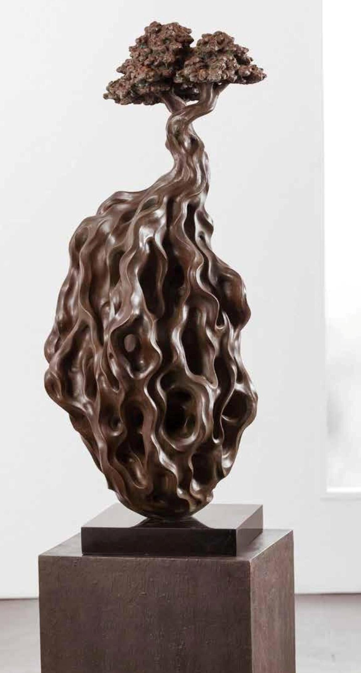 """Roots, Liquid Metal Coating over Composite of Stone by Indian Artist """"In Stock"""""""