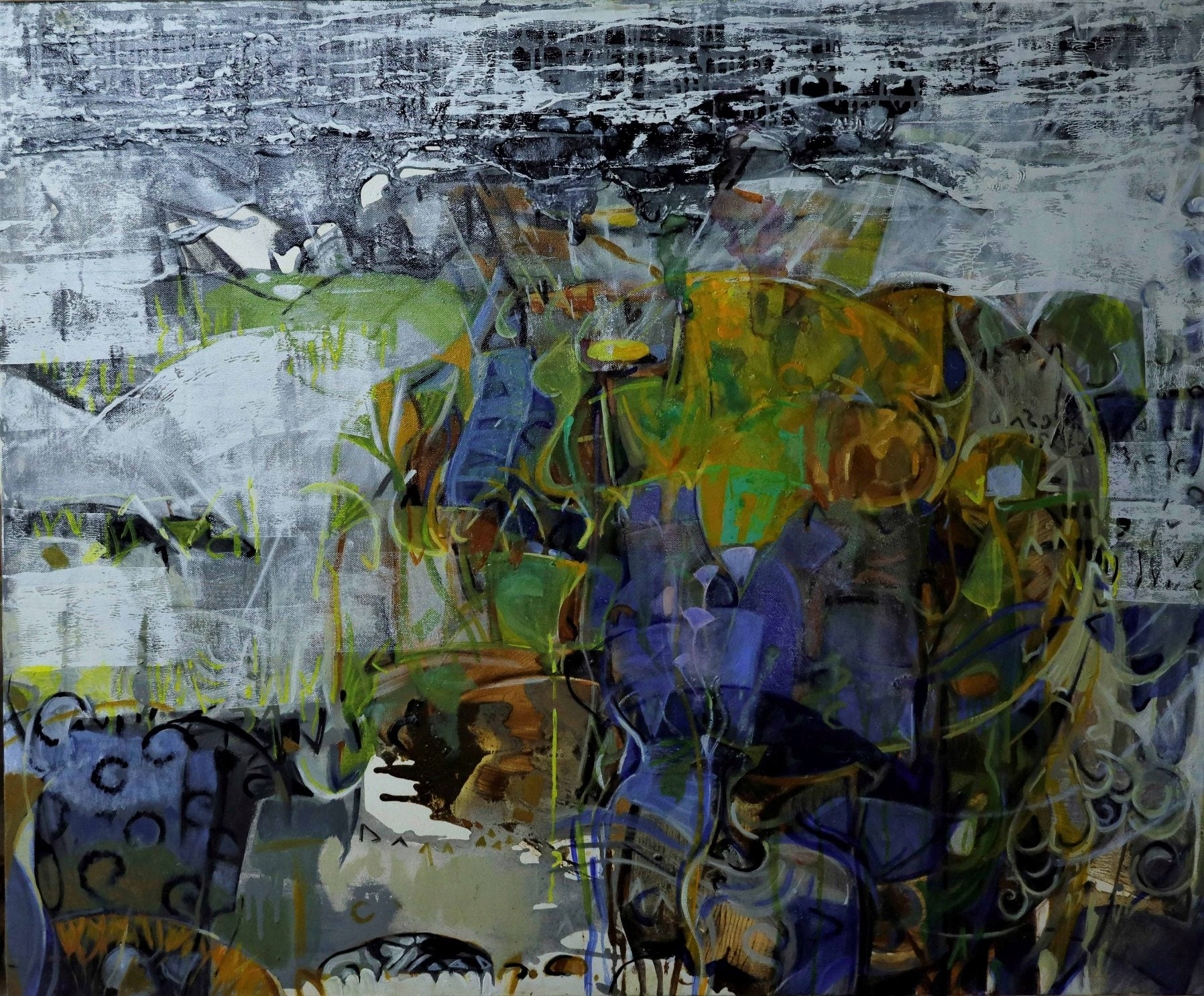 """Untitled, Acrylic on Canvas, Green, Blue, White by Contemporary Artist""""In Stock"""""""