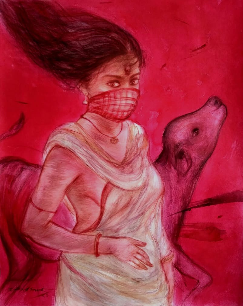 """Durga 1, Mixed Media on Paper, Red Colours by Contemporary Artist""""In Stock"""""""