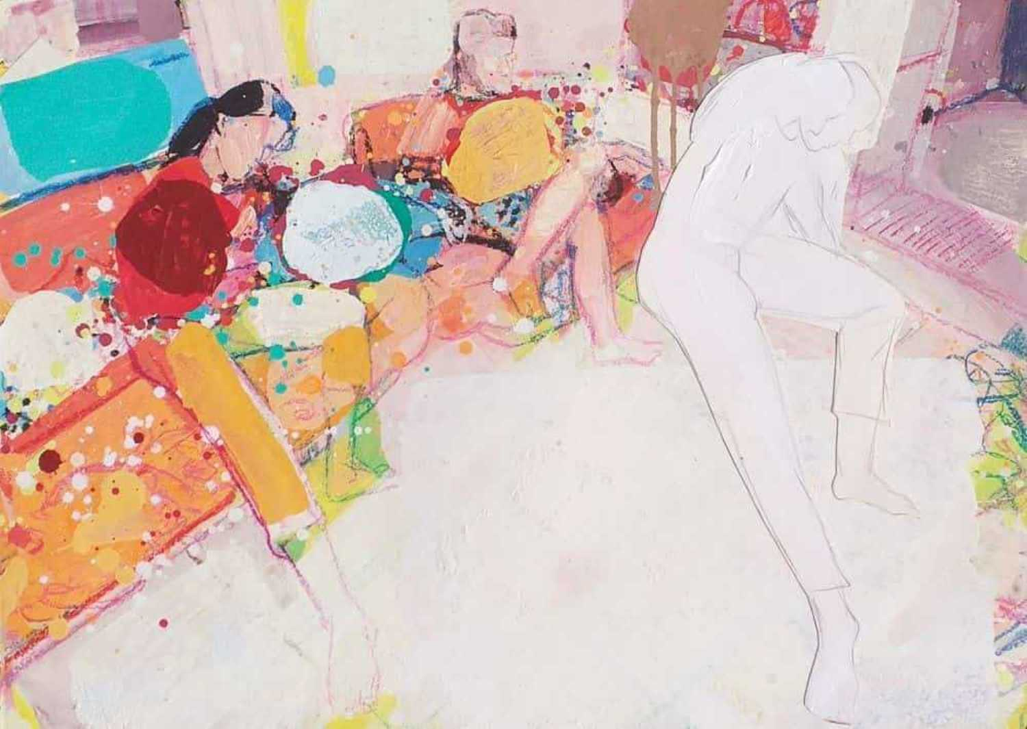"""Home Series,Gouache, Red, White,Pink Yellow, Indian Artist """"In Stock"""""""