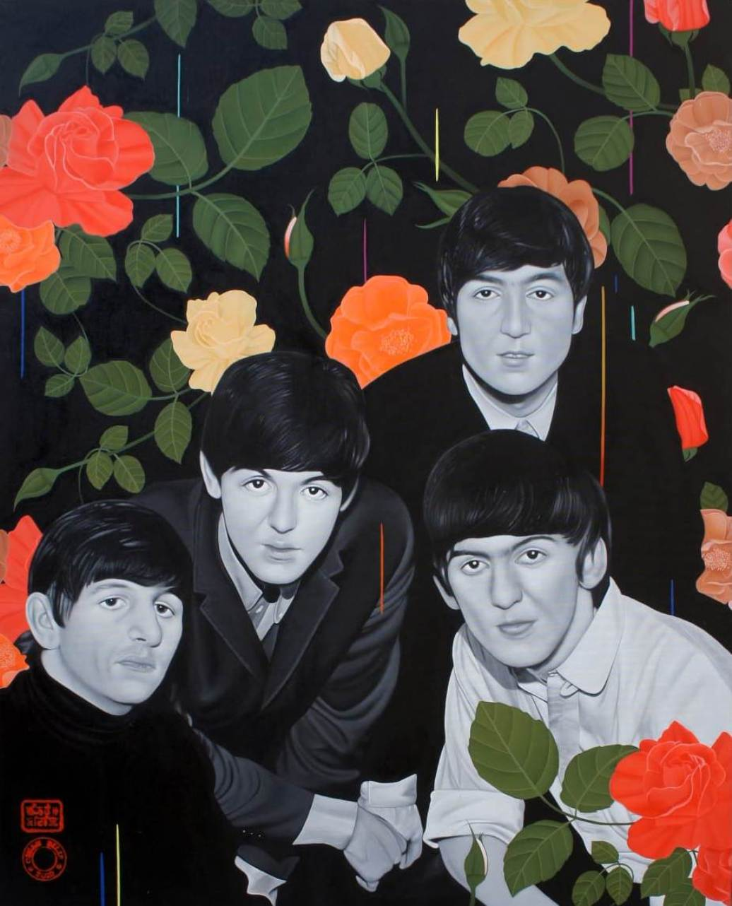 """The Beatles, Acrylic on Canvas by Contemporary Artist """"In Stock"""""""
