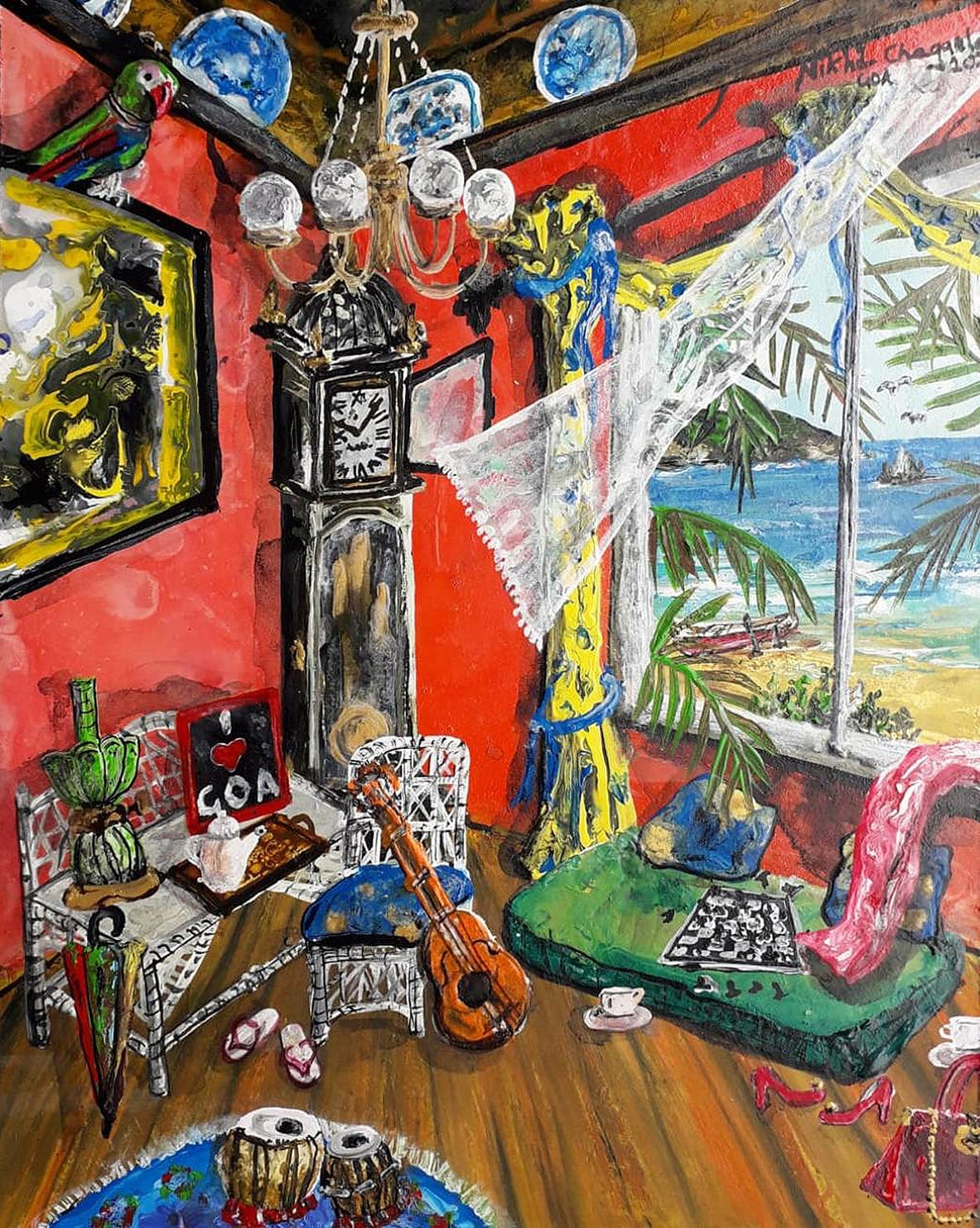 """Goa Beach House, Acrylic on Canvas Board, Red, Green by Indian Artist """"In Stock"""""""