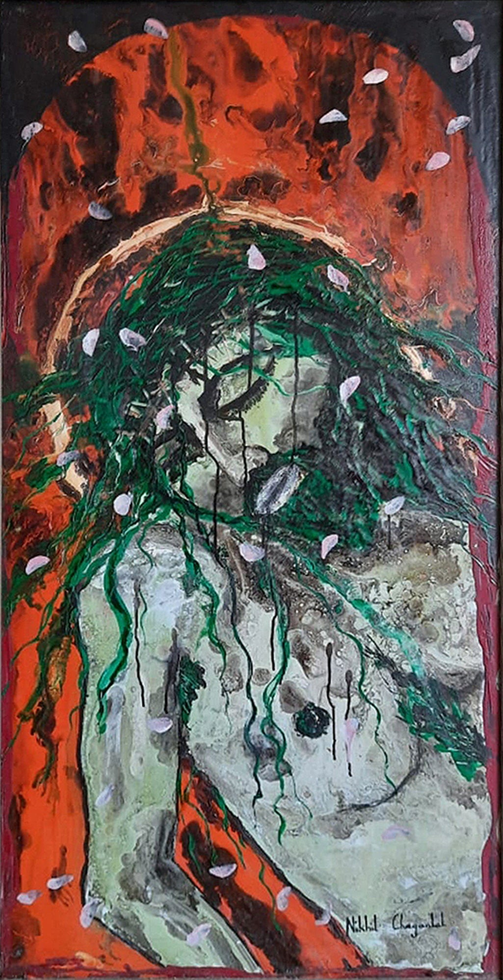 """Jesus, Crucified, Acrylic on Canvas Board, Contemporary Indian Artist """"In Stock"""""""