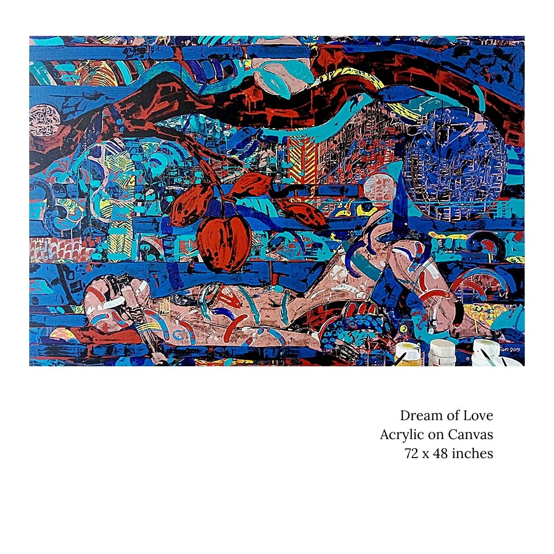"""Dream of Love, Acrylic on Canvas by Contemporary Artist """"In Stock"""""""