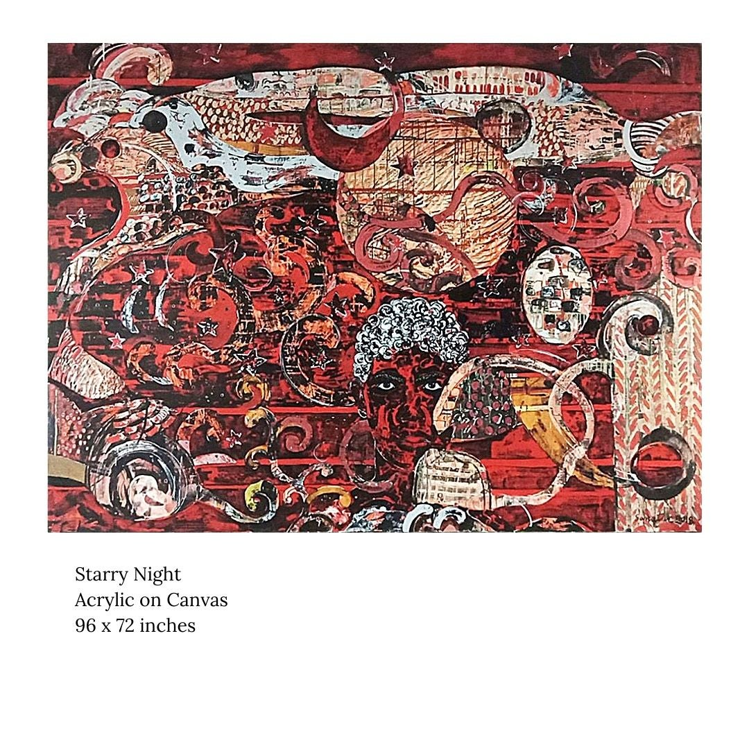 """Starry Night, Acrylic on Canvas by Contemporary Artist """"In Stock"""""""