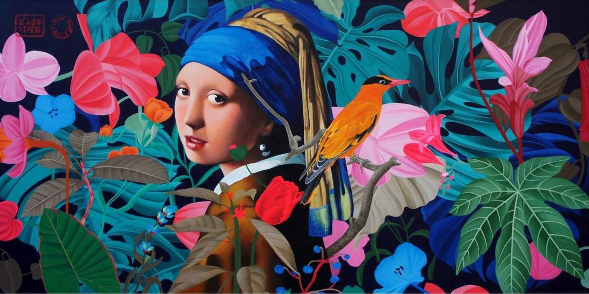 """Girl with a Pearl Earring, Acrylic on Canvas by Contemporary Artist """"In Stock"""""""