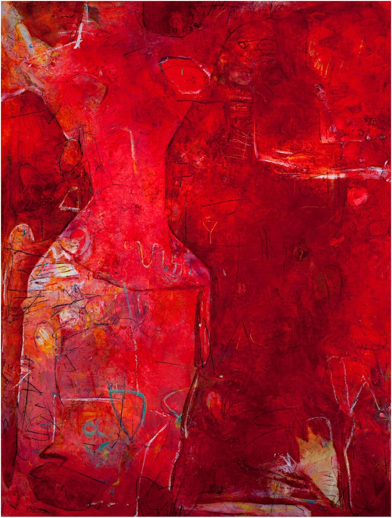 """Layers of red with expressionist mark making, this contemporary abstract oil on canvas painting by artist Alayna Rose depicts the complexities of the female form.   40"""" x 30"""" canvas  Alayna Rose is a painter, jewelry designer and former illustrator."""
