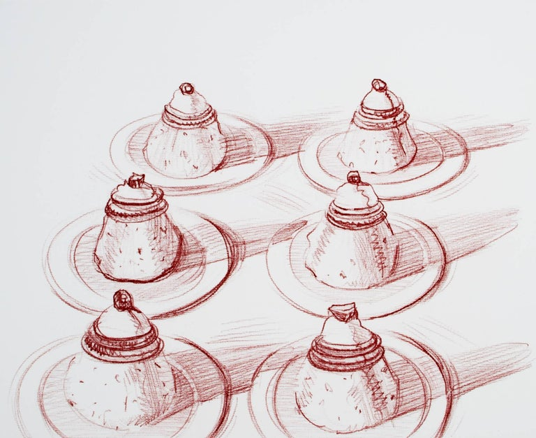 """An etching in red by American pop artist Wayne Thiebaud depicting six Italian desserts. This is #16 from the edition of 50. It is signed and dated in pencil lower right, and numbered lower left.   15 3/4"""" x 19 3/4"""" art 26 3/4"""" x 33 5/8"""""""