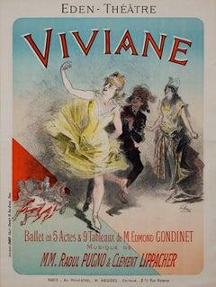 """Viviane, Maindron"" an original lithograph poster by Jules  Chéret"